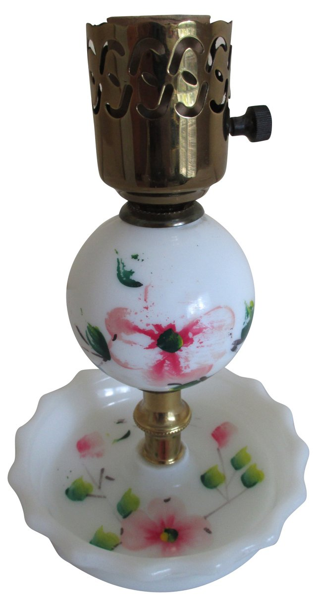 Painted Milk Glass Lamp
