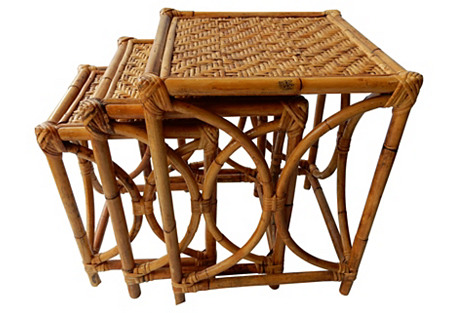 Bamboo Nesting Tables, S/3