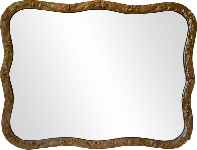 Wavy-Framed Gold Mirror