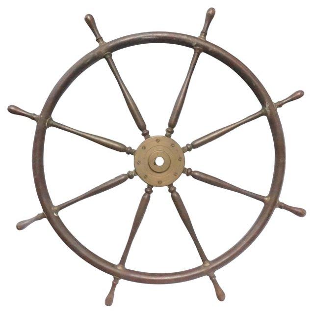 Large Antique Ship's Wheel