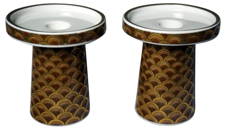 Midcentury Candleholders, Pair
