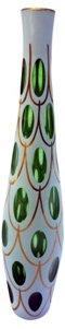 Bohemian Cut Green Glass Vase