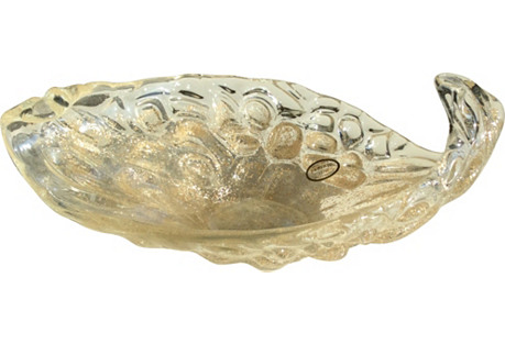Murano Gold Fleck Leaf Bowl