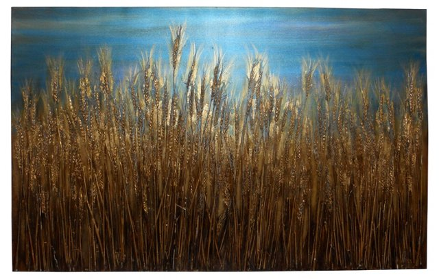 Golden Wheat Mixed Media Collage