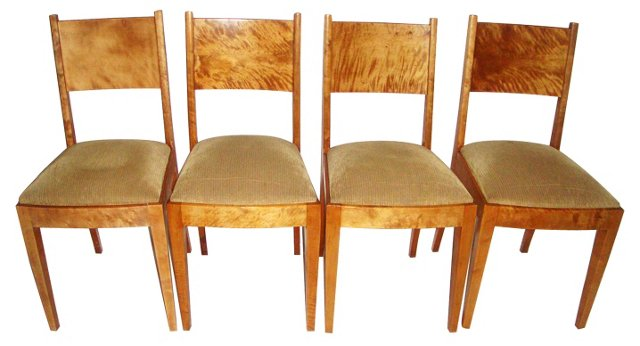 19th-C. Swedish Dining Chairs, Set of 4
