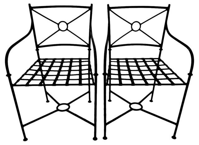 Spanish Metal Armchairs, Pair