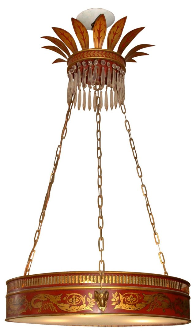 Tole Neoclassical Chandelier