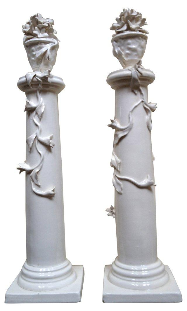 Italian Porcelain Pillars, Pair