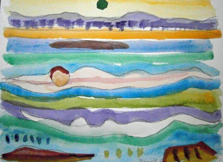 Figure in a Seascape Watercolor