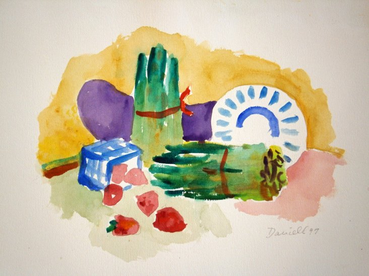 Asparagus Still Life Watercolor