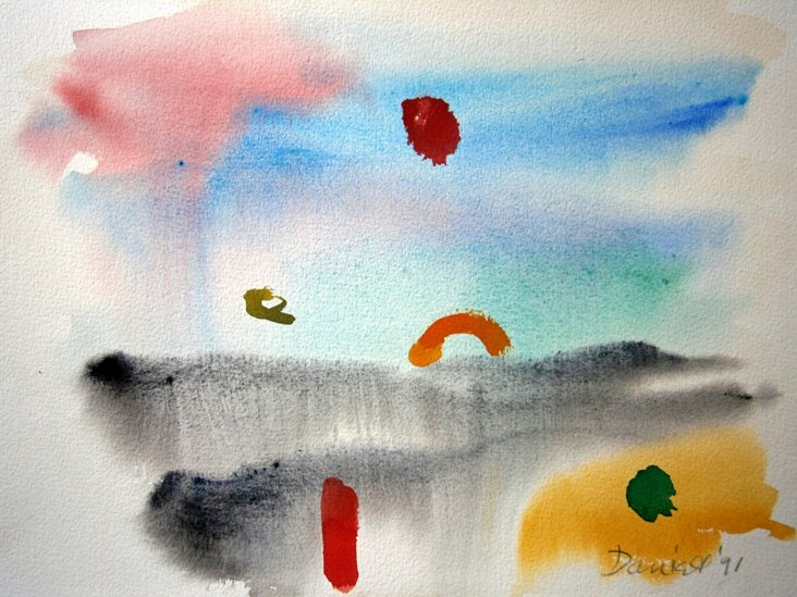 Abstract Foggy Day Seascape Watercolor