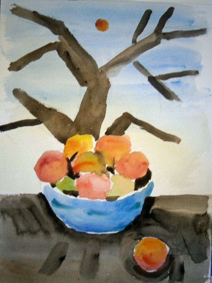 Bowl of Peaches w/ Fall Tree