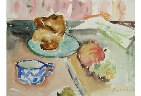 Breakfast, Original Signed Watercolor