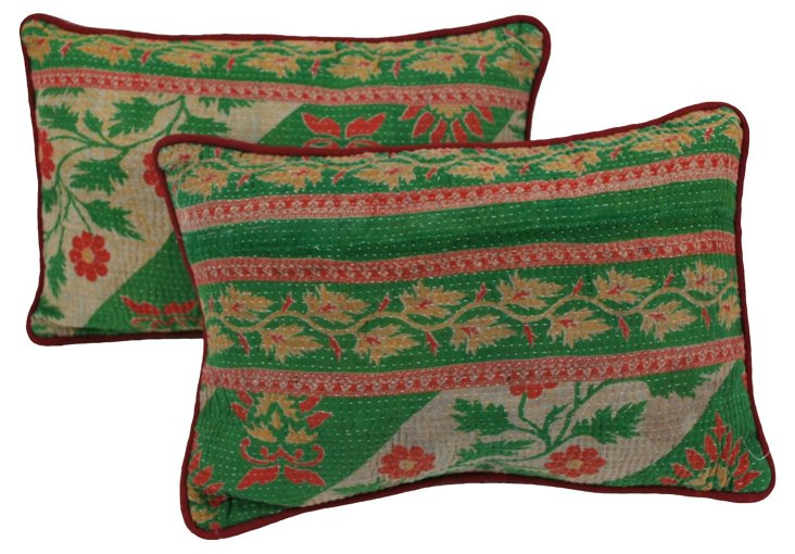 Green & White Kantha  Pillows, Pair