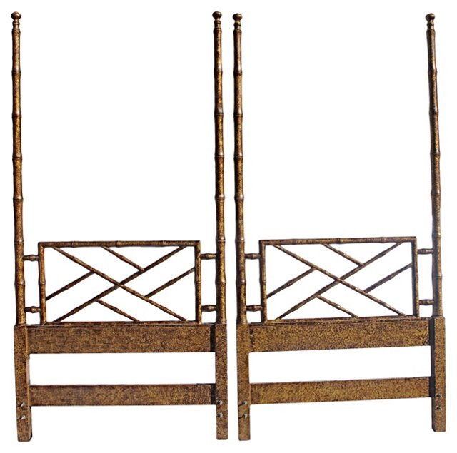 Chippendale-Style Headboards, Twin, Pair