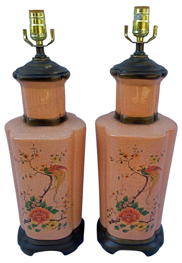 Coral Asian Lamps, Pair