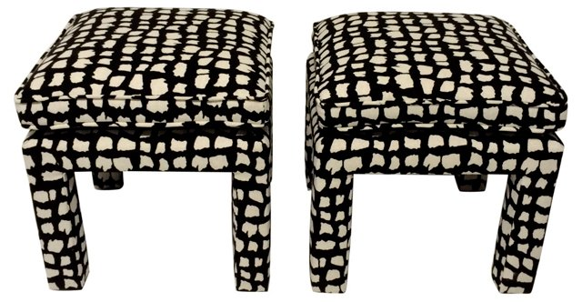 Upholstered Stools by Drexel, Pair