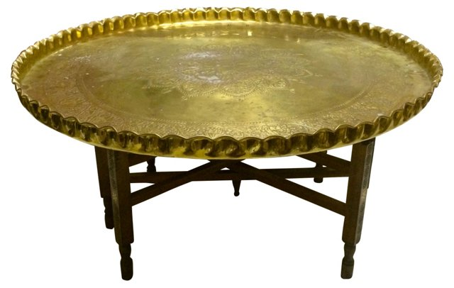 Coffee Table w/ Brass Tray