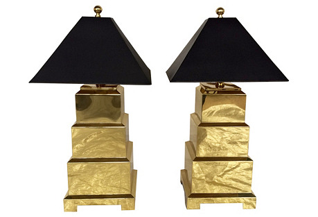 F. Cooper Brass Pagoda Lamps, Pair