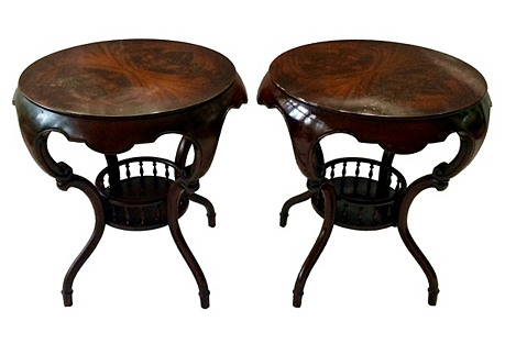 Round Carved Wood Side Tables, Pair
