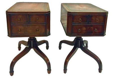 Pedestal-Style Nightstands, S/2