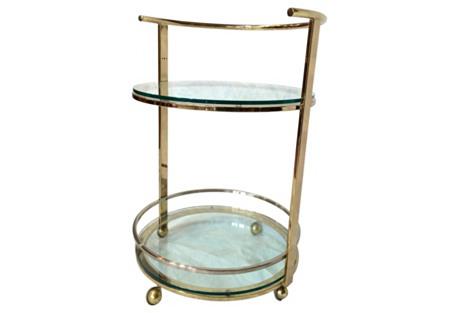 Round Brass & Chrome Bar Cart