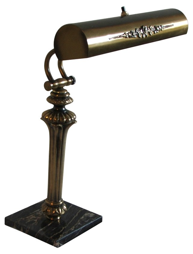 Brass & Marble Desk Lamp