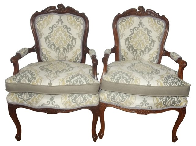 19th-C. Louis XV Style Armchairs, Pair