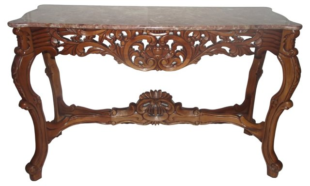 French-Style Carved Wood Console