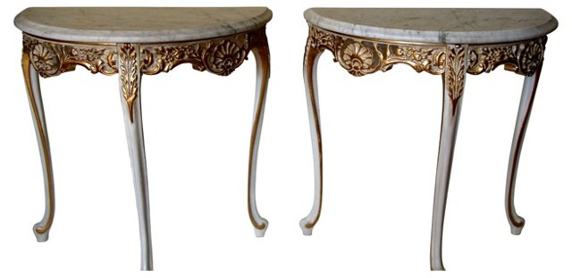 Marble-Top Demilune Tables, Pair