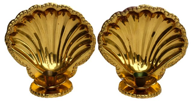 Brass Shell  Sconces, Pair