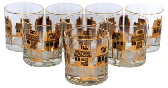 Midcentury Fish Market Glasses, S/8