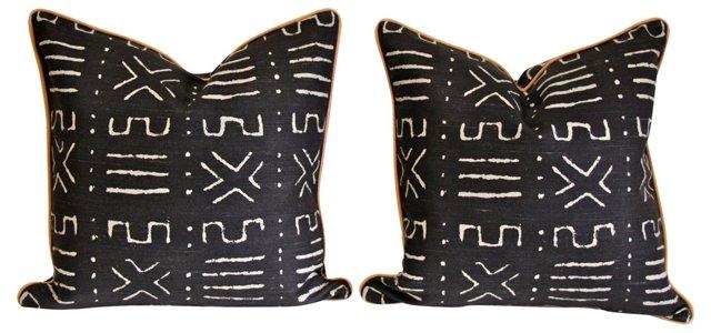 Linen Mudcloth-Style Pillows, Pair