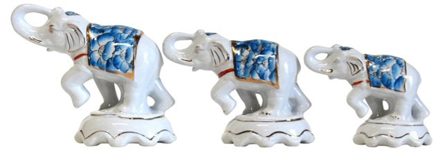 Ceramic Elephants, S/3