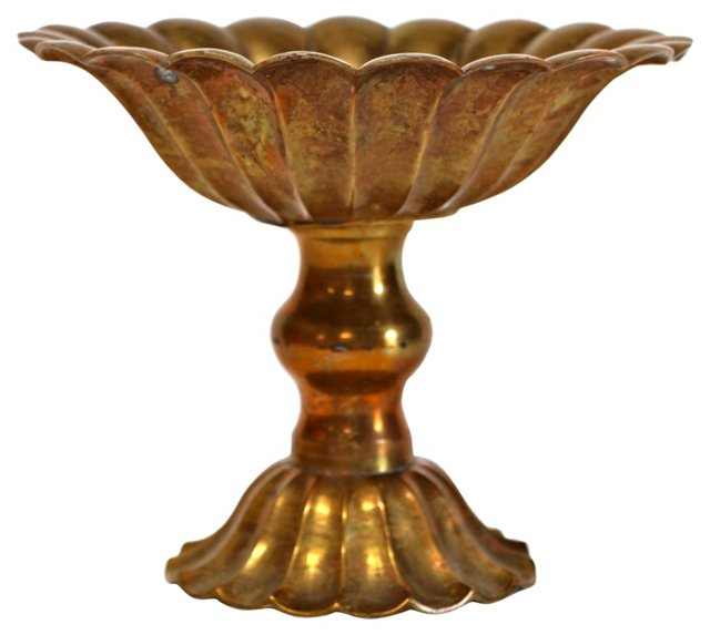 Brass Footed Lotus-Style Compote