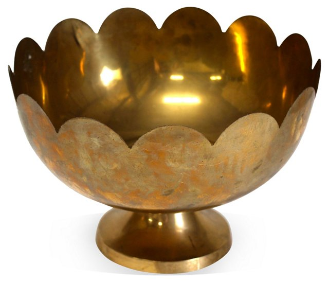Brass Footed Lotus Bowl