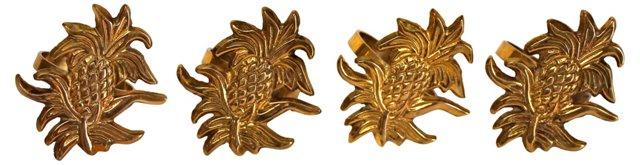 Brass Pineapple Napkin Rings, S/4