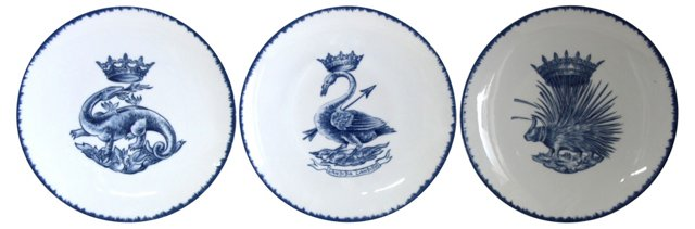 French Porcelain Plates, S/3