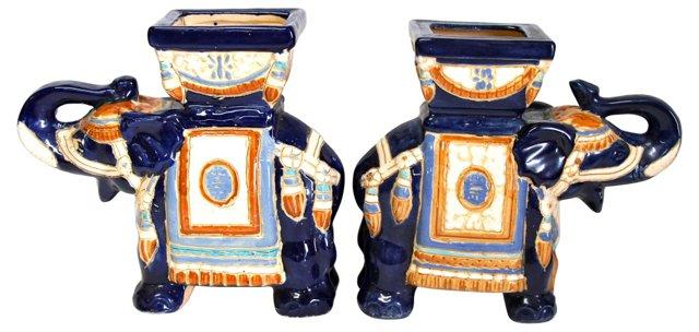 Blue Ceramic Elephant Planters, Pair