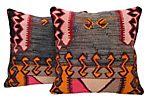 Gray & Pink Turkish Kilim Cushions, Pair