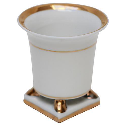Gold-Banded Footed Porcelain Cup