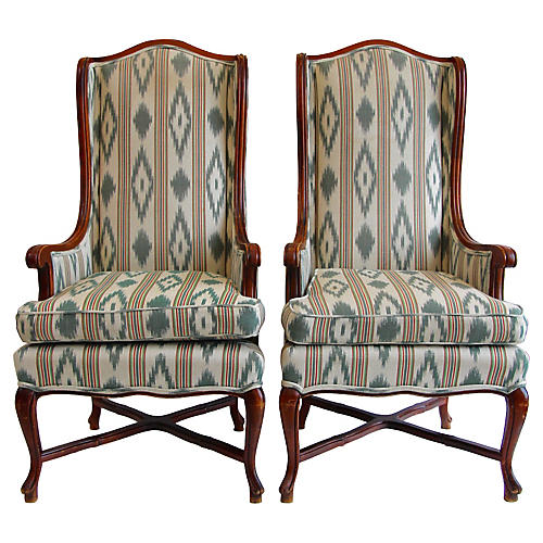 highback wing chairs pair