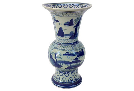 Hand-Painted Asian Countryside Vase