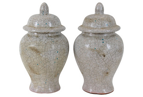 Midcentury Glazed Ginger Jars, Pair