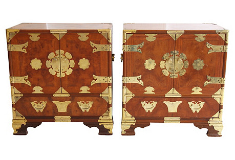 Asian-Style Butterfly Chests, Pair