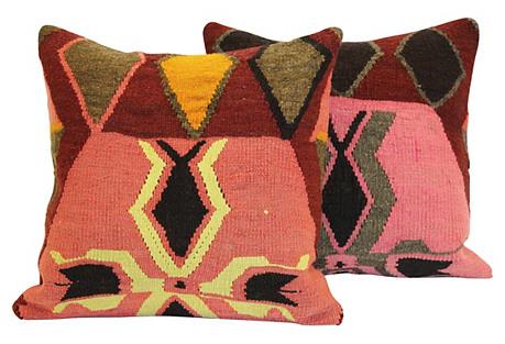 Pink Turkish Kilim Cushions, Pair