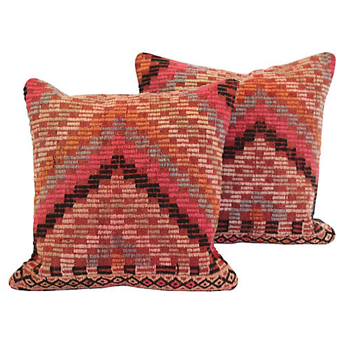 Pink Turkish Kilim Cushions, Pair