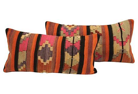 Striped Turkish Kilim Cushions, Pair