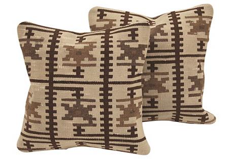 Cream Turkish Kilim Cushions, Pair