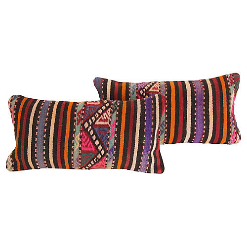 Striped Turkish Kilim Cushions, Pair